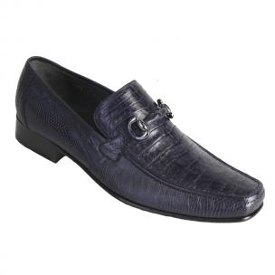 Los Altos Caiman & Lizard Bit Loafers Navy Blue Image
