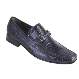 Los Altos Lizard Bit Loafers Navy Blue Image