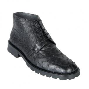 Los Altos Ostrich Quill Boots Black Image