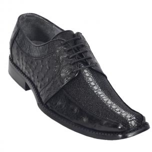 Los Altos Stingray & Ostrich Dress Shoes Black Image