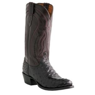 Lucchese M1608.R4 Montana Ostrich Quill Boots Black Image