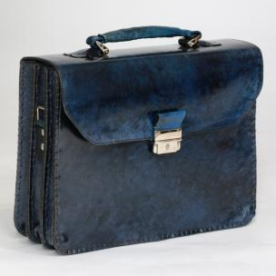 Massimiliano Stanco Barbera Hand Antiqued Gusset Briefcase Cobalt Blue Image