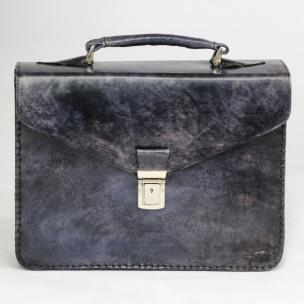 Massimiliano San Babila Hand Antiqued Gusset Briefcase Brushed Denim Image
