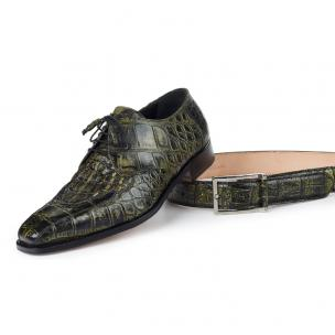 Mauri 1022 Bamboo Body Alligator & Hornback Shoes Olive / Black (SPECIAL ORDER) Image