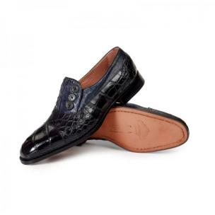 Mauri 1036 Insignia Alligator & Ostrich Loafers Black / Charcoal Gray Image