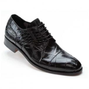 Mauri 1072 Sforza Alligator Cap Toe Shoes Black Image