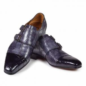 Mauri 1152 Traiano Alligator Double Monk Strap Shoes Black / Gray Image