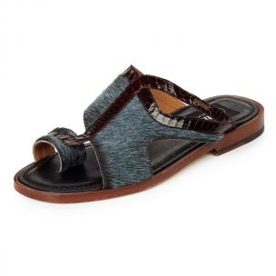 Mauri 1222 Cuba Horse Hair & Snakeskin Sandals Barracuda / Bordeaux Image