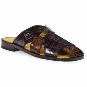 Mauri 1615 Barabino Shark & Crocodile Sandals Brown & Gold Rust Image