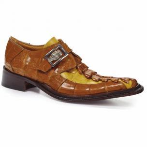 Mauri 44192 Piermarini Crocodile & Hornback Monk Strap Corn / Yellow Pepper Image