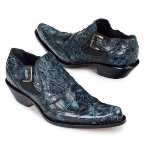 Mauri 44220 Indigo Body Alligator & Hornback Ankle Boots Light Blue / Black Image