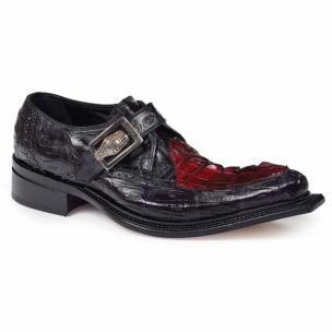 Mauri 44225 Michelangelo Crocodile & Hornback Monk Strap Shoes Black / Burgundy Image