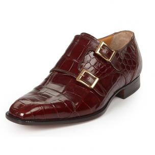 Mauri 4560 Via Spiga Alligator Monk Strap Shoes Gold Image