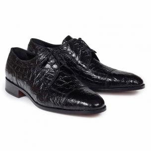 Mauri 4598 Brunelleschi Crocodile Cap Toe Shoes Black Image