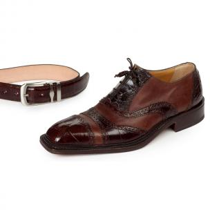 Mauri 4714 Svevo Alligator & Calfskin Cap Toe Dress Shoes Sport Rust Image