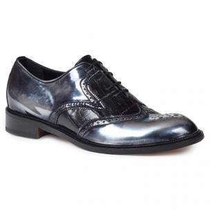 Mauri 4781 Tiziano Mirror Calfskin & Crocodile Wingtip Shoes Black Image
