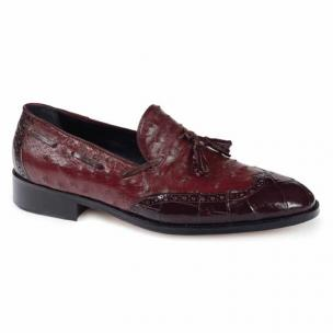 Mauri 53129 Alligator & Ostrich Tassel Loafers Ruby Red Image