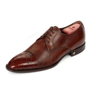 Mauri 53151 Alligator & Calfskin Cap Toe Shoes Camel Image