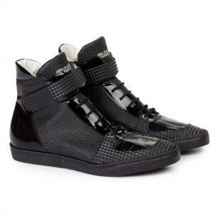 Mauri 8529 Nemo Pebble Grain / Patent Leather / Crocodile Sneakers Black Image