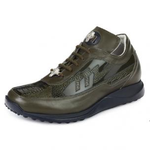 Mauri 8555 Nappa & Ostrich Leg Sneakers Olive Image