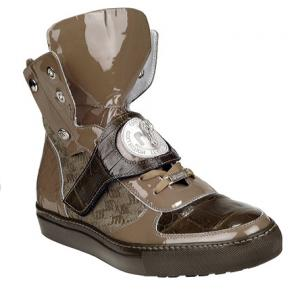 Mauri 8797 Baby Crocodile & Patent Leather Sneakers Taupe Image