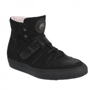 Mauri 8877 Croco & Suede High Top Sneakers Black Image