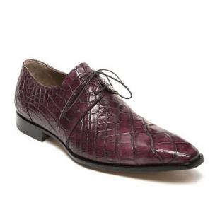 Mauri Cardinale 53125 Alligator Derby Shoes Ruby Red / Gray Image