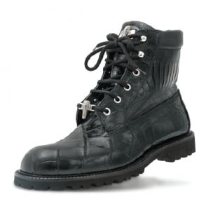 Mauri Commando 4637 Alligator & Ostrich Boots Black Image