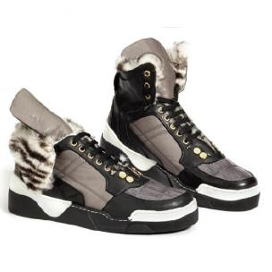 Mauri Corso M758 Crocodile & Nappa High Top Sneakers Black/Gray Image