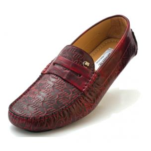 Mauri Cosmo 3128 Calfskin & Crocodile Driving Shoes Red Image