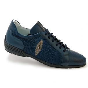 Mauri Deep Blue 8527 Ostrich & Stingray Sneakers Wonder Blue Image