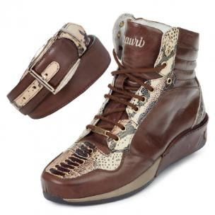 Mauri M727 Elio Calf / Ostrich / Printed Python High Top Sneakers Image