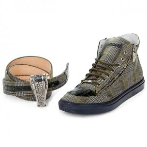 Mauri M766 Enrico Fabric & Crocodile High Top Sneakers Olive Image