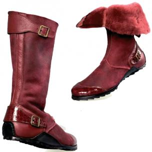 Mauri Mood 50032 Alligator Shearling Boots Ruby Red Image