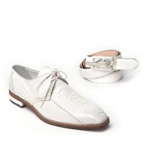 Mauri Orazio 4674 Ostrich Leg Shoes White Image