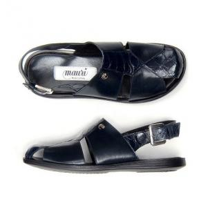 Mauri Renzo 1787 Alligator & Calfskin Sandals Blue Image