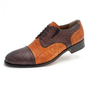 Mauri Sforza 1072 Alligator Derby Shoes Brown Cognac Image