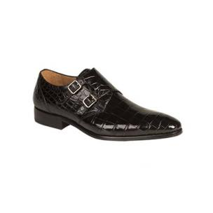 Mezlan Agra Alligator Double Monk Strap Shoes Black Image