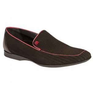 Mezlan Alvise Embossed Suede Loafers Black Image