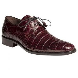 Mezlan Anderson Crocodile Derby Shoes Burgundy Image