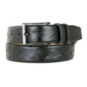 Mezlan AO8146 Genuine Ostrich Belt Black Image