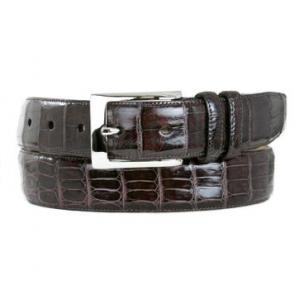 Mezlan Genuine Crocodile Belt Dark Brown Image