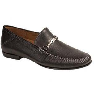 Mezlan Aranda Tumbled Calfskin Bit Loafers Black Image