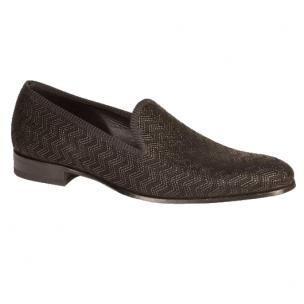 Mezlan Aristotle Embossed Suede Loafers Black Image