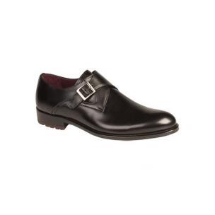 Mezlan Atri Calfskin Monk Strap Shoes Black Image