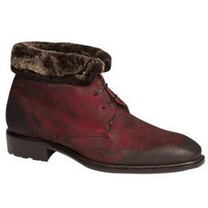 Mezlan Balestra Suede Boots Fur Lining Ruby Image