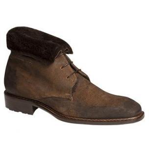 Mezlan Balestra Suede Boots Fur Lining Tan Image
