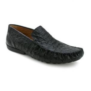 Mezlan Banff Ostrich Quill Driving Shoes Black Image