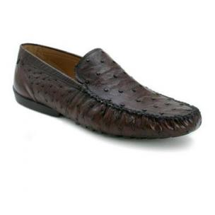 Mezlan Banff Ostrich Quill Driving Shoes Tabac Image