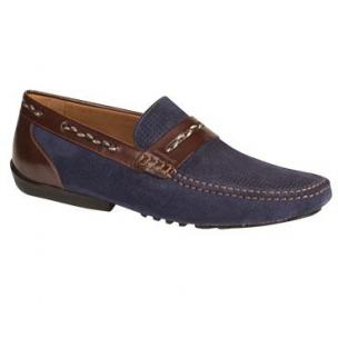 Mezlan Bassols Suede & Calfskin Driving Shoes Blue / Brown Image